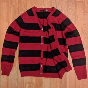 Urban Outfitters Men's Striped Red Cardigan Medium